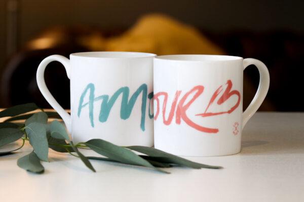 Amour hand drawn brush stroke design on bone china mug