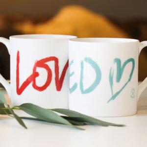 Loved hand drawn brush stroke design on bone china mug