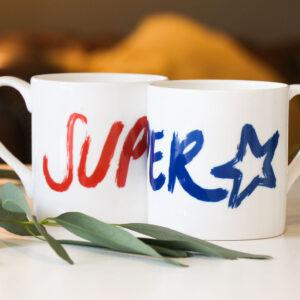 Superstar hand drawn brush stroke design on bone china mug